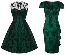 Voodoo Vixen Emerald Green Lace 50s Rockabilly Vintage Party Pencil Flare Dress