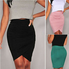 Sexy Women Office OL High Waist Straight Stretch Bodycon Pencil Skirt Mini Dress