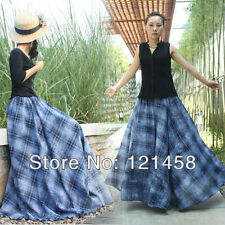 100% Cotton Casual Fashion Navy Blue Plaid Long Maxi Skirts for womens