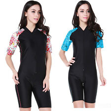 New Woman's Short Sleeve Rash Guards Suit  Surf Scuba Diving Jump Suits