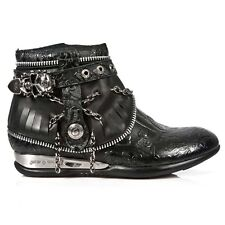 New Rock Apache Leather Ankle Boots - Black - HY101-S1 - Gothic,Goth,Punk,NewRoc