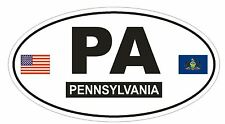 PA Pennsylvania Oval Bumper Sticker or Helmet Sticker D776 Euro Oval with Flags