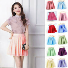 Women's Short Elastic High Waist Skirt Plain Skater Flared Pleated Mini Dresses