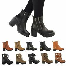 LADIES WOMENS CHUNKY ANKLE BOOTS MID BLOCK HEEL BIKER WINTER WARM SHOES SIZE