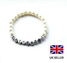 PERSONALISED IVORY PEARL BRACELET IDEAL FOR GIRLS BIRTHDAY GIFT -ANY NAME, COLOU