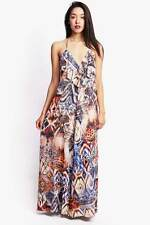 Women Beach Dress Bold Abstract Prints Halter Long Maxi Ankle Length Dresses SML