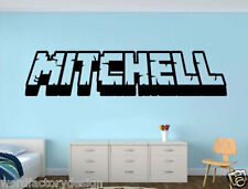 6' Gamer My Name decal Minecraft inspired name 3d looking Wall Vinyl Decal decor