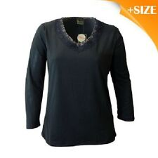 NEW DE MODA BLACK PLUS SIZE LONG SLEEVE TOP WITH LACE FRONT SIZE 20