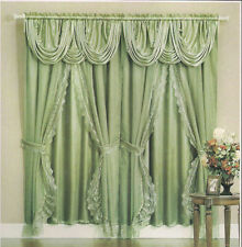 BOMBAY CURTAIN COMPLETE SET with VALANCE and BACKING and TIE BACKS