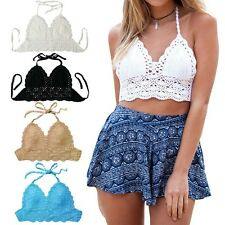 Women Crochet Bra Lace Knit Bra Beach Bikini Halter Cami Tank Crop Top