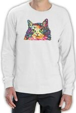 Cat Lover Gift Tee Rainbow Fluffy Kitty Neon Graphic Long Sleeve T-Shirt Novelty