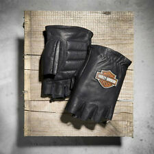 Harley Davidson Men's Stock B&S Fingerless Leather Gloves L 2XL 3XL98200-07VM