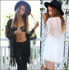 Lace Crochet Embroidered Loose Kimono Cardigan Tassels Sleeve Shirt Blouse Tops