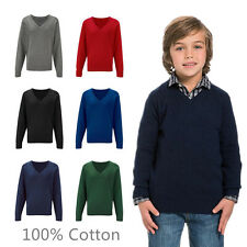 Boys School Jumper Knitted Sweatshirt V Neck School Jumper 9/13 Years