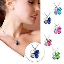 Women's Jewelry Lucky Four Leaf Clover Crystal Pendant Clavicle Chain Necklace