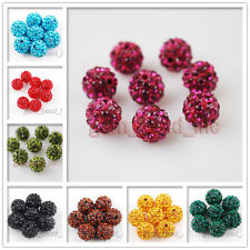 10ps Crystal Rhinestone Pave Clay European Bracelet Round Ball Spacer Beads 12mm