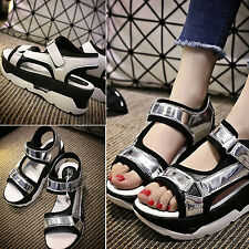 2015 Women Ladies Summer Sandal Ankle Strap Cuff High Wedge Platform Shoes Size