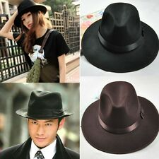 New Vintage Women Men Wide Brim Felt Felt Wool Bowler Floppy Cloche Fedora Hats