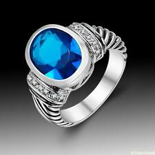 Vintage Beautiful Jewelry Blue Topaz S80 Silver Gemstone Ring size 789