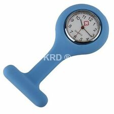 LIGHT BLUE Silicone Nurse Fob Watch Brooch Tunic Watch & Free Battery UK SELLER