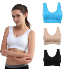 Ladies Sports Bra Lace Crop Top Stretch Gym Yoga Sleeping Vest Padded Bras S-3XL