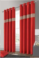 ELEGANT DIAMANTE FAUX SILK RINGTOP EYELET FULLY LINED CURTAINS RED COLOUR