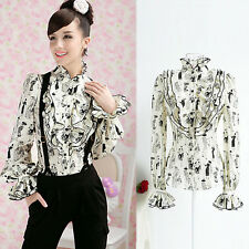 Vintage European Style Shirt Ruffle Frill Stand Collar Slim Blouse Top Victorian