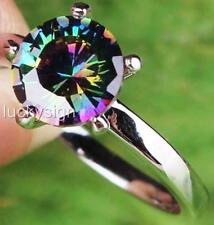 18K W GOLD EP 1.0CT MYSTIC RAINBOW TOPAZ SOLITAIRE RING WOW size 6 - 12 u choose