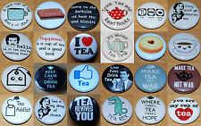 TEA (Various Designs) Button Badge 25mm / 1 inch - CUP - CUTE - GIFT - BISCUITS