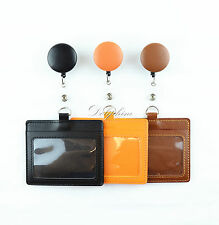 Retractable PU Leather Reel attached Horizontal ID Badge Holder- free Alligator