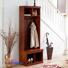 Entryway Wooden Hall Tree Shoe Storage Bench Coat Rack Metal Hooks Stand Hallway