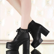2015 Womens Shoes Lace Up Chunky Heels Platform Punk Goth Creeper Ankle Boots