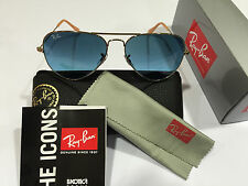 Authentic NEW Ray Ban Aviator RB3025 001/3F Gold Frame, Blue 58mm Lens