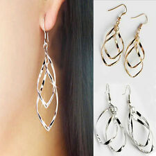 925 Silver Plated Fashion Lady Dangle Ear Stud Hoop Earrings Jewelry