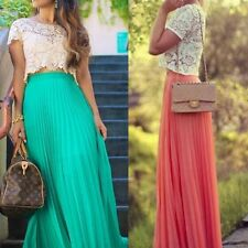 Elastic Waist Skirt Ms. Double Layer Chiffon Candy Pleated Long Skirt Maxi Dress