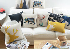 geometric triangle bear elephant yellow deer love moon Cushion Cover pillow Case