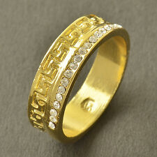 Deluxe 9K Yellow Gold Filled Flawless Cubic Zirconia Mens Ring,Size 9,Z3602