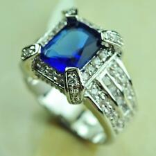 Fashion Jewelry New Blue Topaz Gemstone 925 Silver Wedding Party Ring size 7 8 9