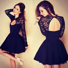 2015 LACE Sexy Women Summer Casual Long Sleeve Evening Cocktail Short Mini Dress