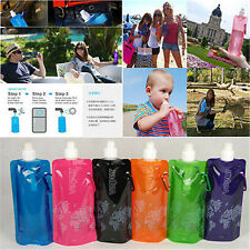 Fashion Flexible Collapsible Foldable Reusable Water Bottles Ice Bag 5 Colors