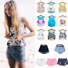 Women Tank Tops Vests Sleeveless Cartoon Shirts Denim Jeans Shorts Summer Pants