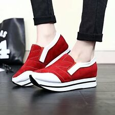 New Womens Pull On Wedge Hidden Heel Sneakers Running Sport Trainer Shoes Casual