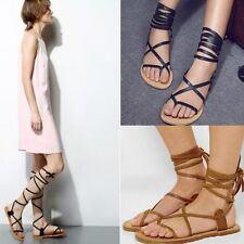 Women's Leather Roman Gladiator Thong Sandals Flats Lace Up Sandals Shoes Size