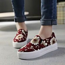 NEW Womens Mid Heel Creeper Platform Floral Loafer Flower College Sneaker Shoes