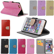 New Bling Glossy Gilter Wallet Stand Flip Case Cover For Apple iPhone/Samsung