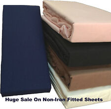 Non Iron Percale Easy Care Combed Cotton Fitted Sheets Huge Sale Various Colours