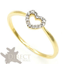 9ct REAL GOLD 0.1ct Round Cut GENUINE White DIAMOND Heart Shaped Engagement Ring