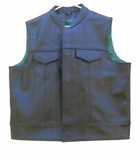 Motorcycle Club Green-Lined Black Leather Vest NEW L XL 2XL 3XL Biker Colors