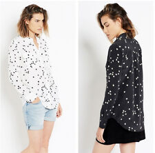 New Equipment Slim Signature Bright White Star Print Silk Shirt, SZ XS, S, M