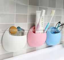 Toothbrush Holder Wall Suction Cup Pocket Bathroom Stuff Organizer Storage